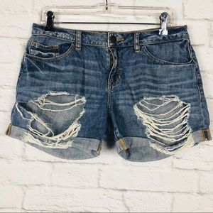 Sneak Peek Womens Relaxed Distressed Jean Shorts M